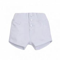 Short vaquero color goma en cintura con botones