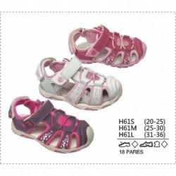 Sandalias estilo cangrejeras cierre cordones y velcro - Calzados DK - DKV-H61S
