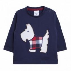 Camiseta perro de rooa cuadros rojos