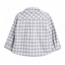 Camisa franela de cuadros gris y blanco