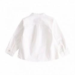 Camisa lisa cuelo mao con detalle de cuadros y simbolo de buho verdes algodón 100%