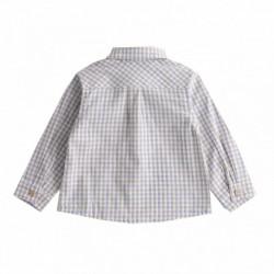 Camisa cuadros beiges y azueles con botones de madera algodón 100%