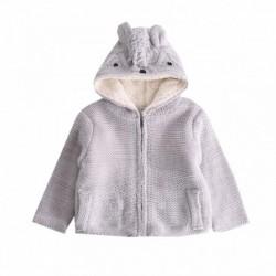 Chaqueta tricot con capucha de osito