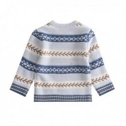 Jersey tricot azul y mostaza algodón 100%