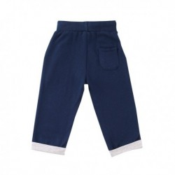 Pantalon deportivo fleece brushed color liso con detalle de college