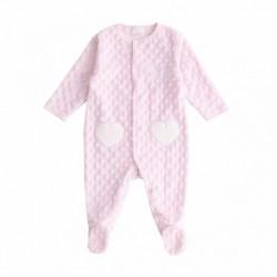 Pijama terciopelo suave con 2 bolsillos de corazon blancos