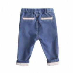 Pantalon vaquero forrado con lazo en la cintura y estrellas en pierna 95% algodón 5% elastano
