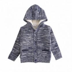 Chaqueta de punto con capucha con bolsillos borde marino algodón 100%