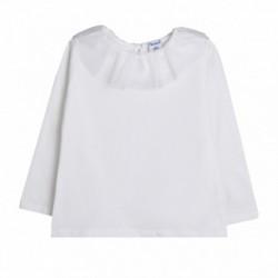 Camiseta basica cuello volante de tul