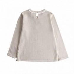Jersey cuello de encaje y buho con lazos algodón 100%