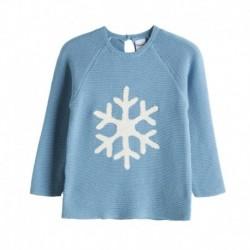 Jersey de algodón con brocado copo de nieve