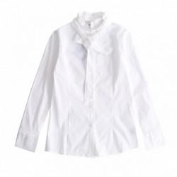 Camisa elastica cuello alto con lazo algodón 100%