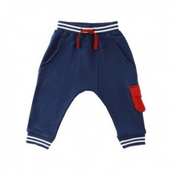 Pantalon deportivo fleece brushed con bolsillo rojo y detalle nns