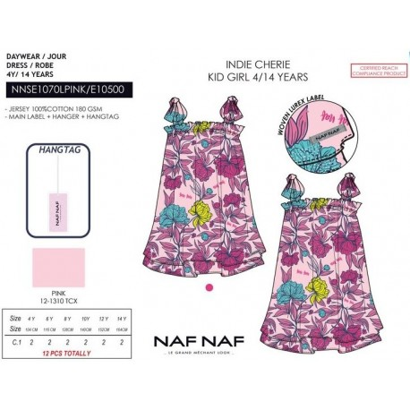 NFV-NNSE1070LPINK venta al por mayor de ropa infantil Vestido