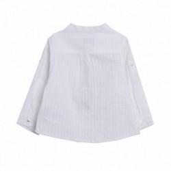 Camisa popelín lisa manga largo cuello mao medio abierto
