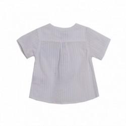 Camisa cuello redondo medio abierto borde celeste del bolsillo - Newness - BBV98082