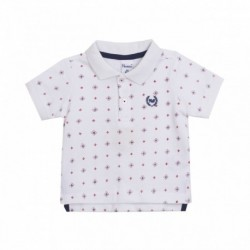 Polo blanco estampado