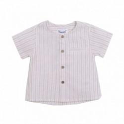 Camisa cuello redondo todo abierto rayas beiges con botones de madera