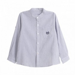 Camisa cuello mao manga larga con recogedor en manga