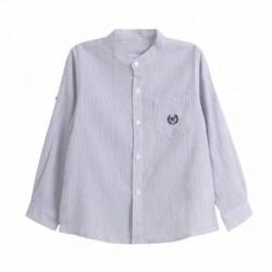 Camisa cuello mao manga larga con recogedor en manga - Newness - JBV98254