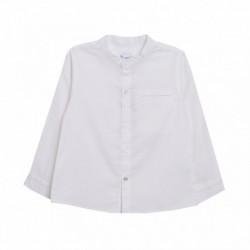 Camisa cuello mao manga larga lino
