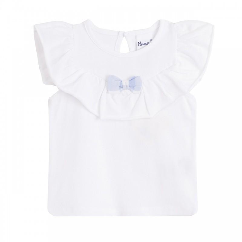 d9e376bd6 Camiseta volante grande en con lazo del tejido cuadros azuels - Newness -  BGV68511. Loading zoom