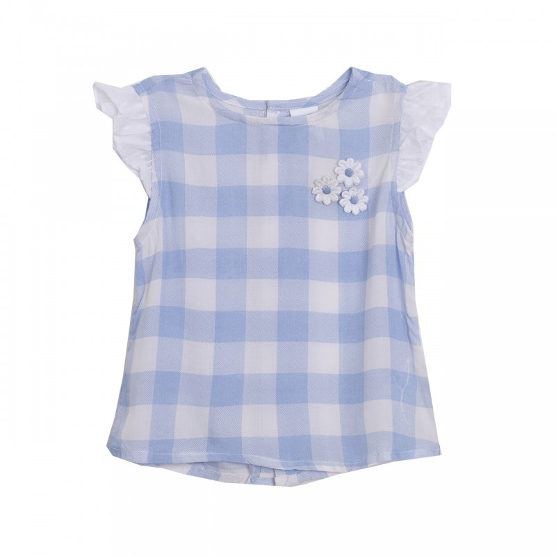 2beb4cd24 Conjunto camisa cuadros margaritas celestes con el pantalon corto blanco -  Newness - BGV98508. Loading zoom