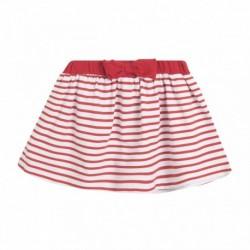Falda de punto rayas rojas
