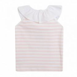 Camiseta sin mangas, cuello volante rayas horizontales salmón - Newness - JGV69832