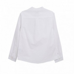 Camisa cuello mao manga larga con recogedor lino