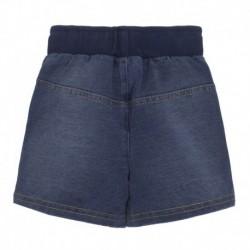 Pantalón corto jeans de puntos con cordón en cintura