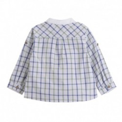 Camisa manga larga cuello mao medio abierto y cuadros verdes - Newness - BBV98064